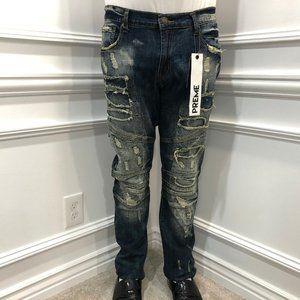 Preme Distressed Moto Jeans Streetwear Indigo A6